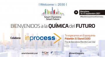 Banner of the Smart Chemistry Smart Future 2021 event organised by FEIQUE and held in Barcelona from 14 to 17 September 2021.